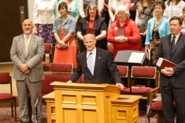 Pastor Welcoming Guests